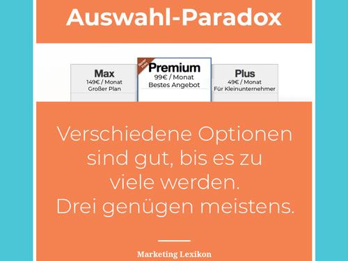 Auswahl Paradox