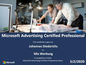 Bing Ads Zertifikat Microsoft Advertising