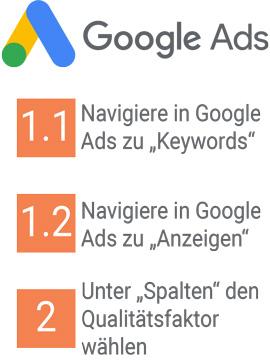 Qualitätsfaktor Google Ads anzeigen